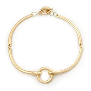 Brushed Gold 'Circle' Choker Necklace With T-Bar Closure - 33cm Length