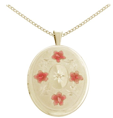 Gold Plated Silver Diamond Accent Flowers and Leaves Oval Locket Pendant Necklace, 18