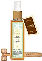 BodyHerbals Sensual, Natural Jasmine & Vanilla Cold Pressed Body Massage Oil (100ml) Natural Wooden Massager, Beauty, Skin Care