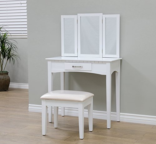 Buy Bargain Frenchi Home Furnishing 2 Piece Home Furnishing  Set  Vanity with Beige Stool, White