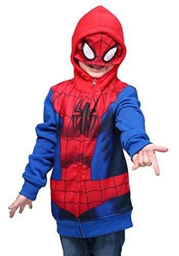 Marvel Boys' Spiderman Costume Hoodie, Red, 7