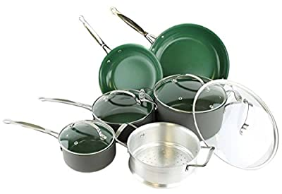 Telebrands Orgreenic 10-Piece Anodized Non Stick Kitchen Cookware Set Pans Pots