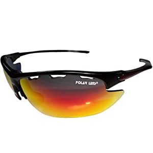 POLARLENS S24 Sunglasses / Multi Sport Glasses / Cycling Sunglasses / Exchangeable Lenses for varying light conditions come in a cushioned carry case + belt loop !