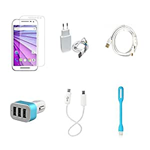 High Quality Combo of Moto G3 Temper Glass + 1 Amp USB Charger + Fast Charging Cable + Car Charger 3 USB + Android to Android Charging Cable
