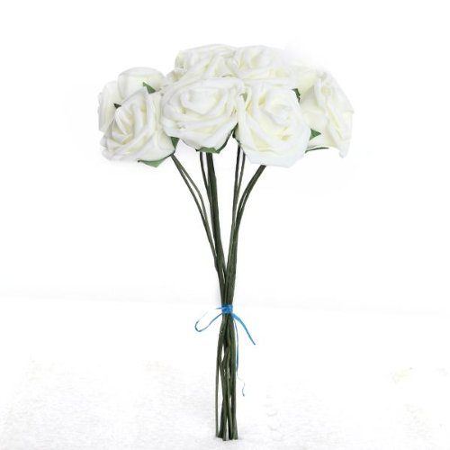 bouquet-10pcs-fleur-artificiel-rose-en-mousse-blanc-du-lait-deco-mariage-maison