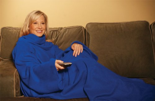 Genuine JML Snuggie Blanket - Soft-to-Touch Fleece with Large, Loose Sleeves - Blue