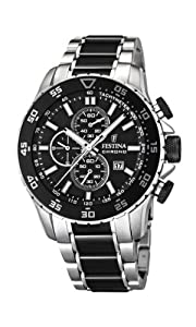 Festina Men's Quartz Watch with Black Dial Chronograph Display and Black Stainless Steel Bracelet F16628/3