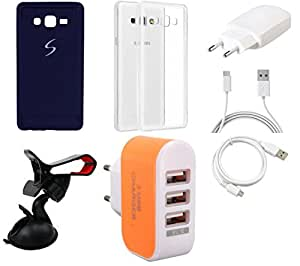 NIROSHA Cover Case Charger USB Cable Mobile Holder for Samsung Galaxy ON7 - Combo