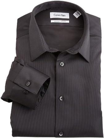 Calvin Klein Men's Non Iron Slim Fit Dress Shirt, Carbon, 16 36-37