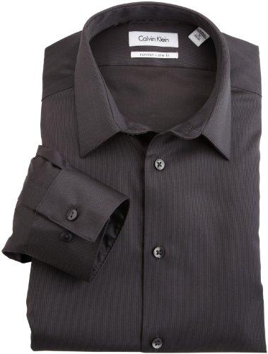 Calvin Klein Men'S Non Iron Slim Fit Dress Shirt, Carbon, 15 34-35