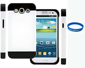 3D Prime strass scintillants TUFF Silicone Etui Coque Case Protection dur Housse de pour Samsung Galaxy S3 S III I9300 I9305 Blanc + Noir