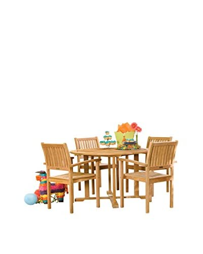 Oxford Garden Warwick 5-Piece Dining Set, Natural