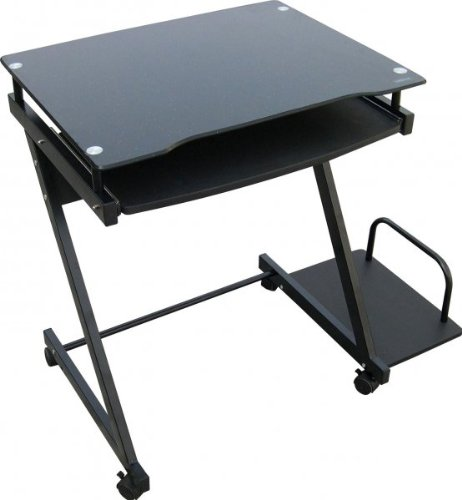 Buy Low Price Comfortable Compact Computer Cart with Tower Shelf (Black) (29″H x 24″W x 19.5″D) (B003SA33J4)