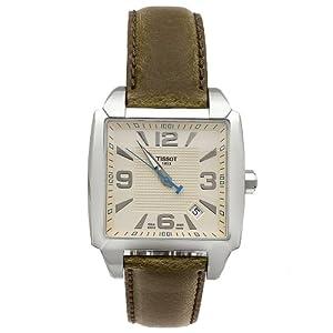 Tissot Men's T0055101626700 Quadrato Leather Strap Champagne Dial Watch