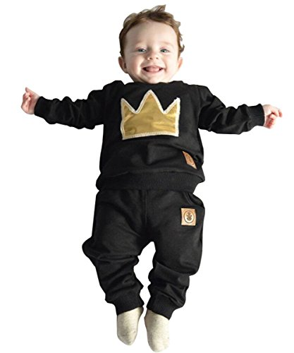 Baby Boy Girls Crown Tops T-shirt+pants Leggings Casual Outfits Set Tracksuit (12-18 months)
