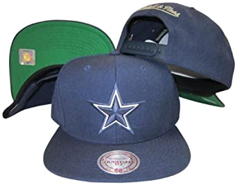 Dallas Cowboys Solid Navy Plastic Snapback Adjustable Plastic Snap Hat Cap by Mitchell & Ness