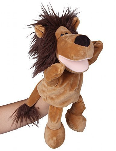 Flexibuy-12-Babies-Toddlers-Velour-Cute-Brown-Lion-Full-Body-Hand-Puppet-Toys