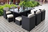Deluxe Cube Dining Set in 4 line black weave colour - 10 seat dining table with 6 chairs 6 foot stools and ecru cushions