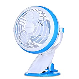 Clip On Desk Fan USB Table Fans (USB OR Battery Powered, Quietness)(Blue)