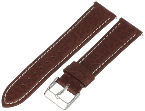 Voguestrap TX77720BN Allstrap 20mm Brown Regular-Length Genuine Leather-Contrast Stitch Watchband