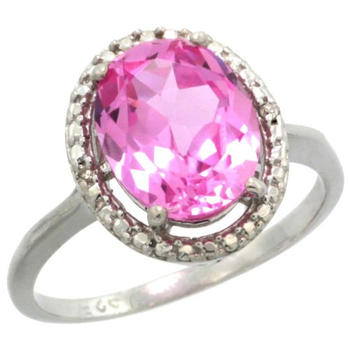 Sterling Silver Halo Engagement Ring w/ 0.02 Carat Brilliant Cut Diamonds & 3.35 Carats Oval Cut (10x8mm) Pink Topaz Stone, 1/2 in. (13mm) wide, size 8.5