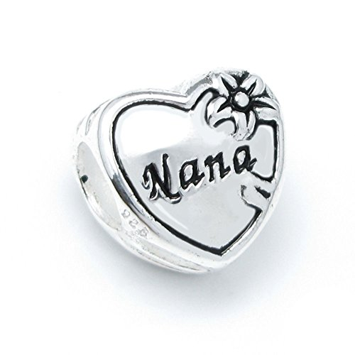 Sterling Silver Great Grandma Nana Heart Flower Bead For European Charm Bracelets
