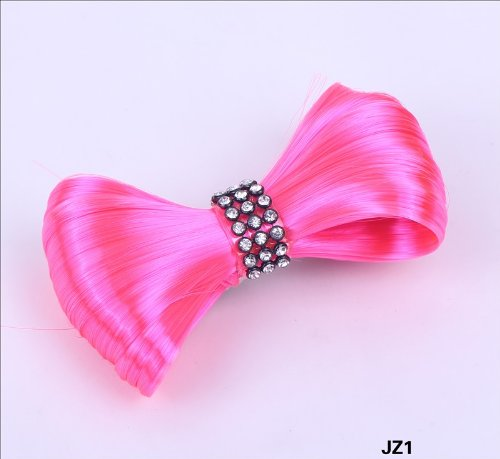 Aokeshen New 1pc 8CM Fashion Mini Lady Gaga Women CZ Extension Tie Bow Bowknot Hairpiece Clip Headwear Hairpin Styling Synthetic Hair Extension Ponytail Holder Cosplay Party Versatile JZ1