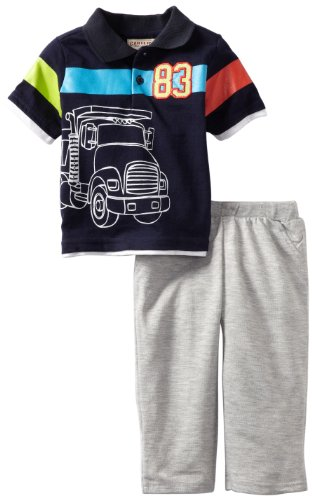 Carter's Watch the Wear Baby-boys Infant 2 Piece Short Sleeve Sweat Suit With Truck Top, Heather Grey, 24 Months