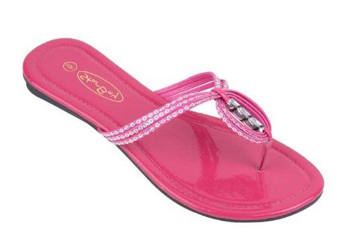 Brand New Women'S Fuchisa Strappy Thong Sandal Flip Flops Size 6 front-862207