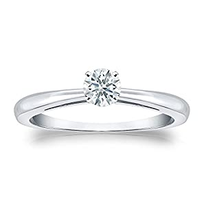 Jewel Oak 1/4 ct. tw. Hearts & Arrows Diamond Solitaire Ring in 18k White Gold (F-G, SI1), Size 6.5