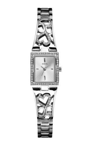 GUESS Women's U85041L1 Lacey Heart Self-Adjustable Silver-Tone Bracelet Watch