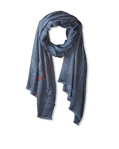 Alexander McQueen Men's Logo Scarf, Light Blue Red