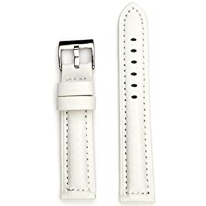 StrapsCo White Carbon Fiber Padded Waterproof Watch Band in size 18mm