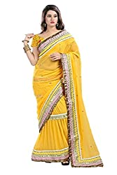 Heart and Arrow women's soft net embroidered saree [322_yellow]