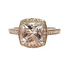 buy Cushion Cut Morganite Engagement Ring Halo Diamond Wedding 14K Rose Gold 7Mm