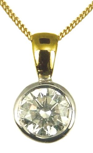 9ct Yellow Gold Ladies' 1/2 Carat Solitaire Rub Set Diamond Pendant 46cm Curb