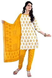 DARPAN TEXTILES Ethnicwear Women's Dress Material White_Free Size