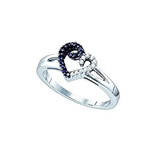 Size 9.5 - 925 Sterling Silver Channel Set Round Cut Black and White Diamond Engagement Ring OR Fashion Band - Heart Shape Center Setting - (1/6 cttw.)