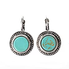 buy Ginasy Silver Plated Round Turquoise Drop Earrings (Er-10052)