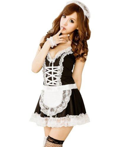 Sexy Dessous Hausmädchen-Kostüm / Uniform / Lolita-Kleid, , Schwarz / Weiß