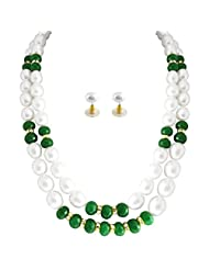 White And Green Pearl Necklace Set