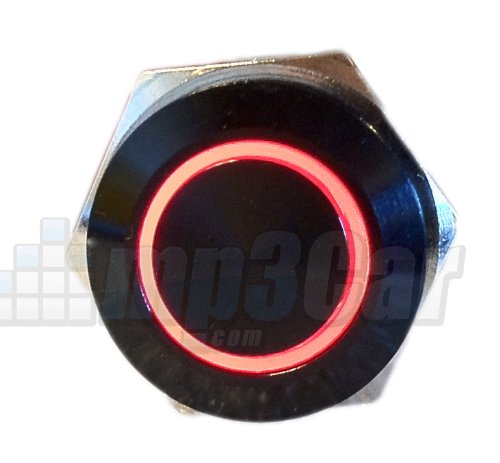 Black Push Button Switch Latching Red Ring Led 18Mm
