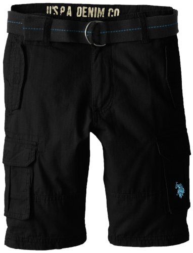 U.S. Polo Assn. Big Boys' Ripstop 6 Pocket Cargo Short With Belt, Black, 14