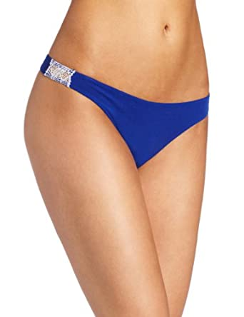 Cosabella Women's Olga Lr Thong Panty, Ultra Blue/White, Small/Medium