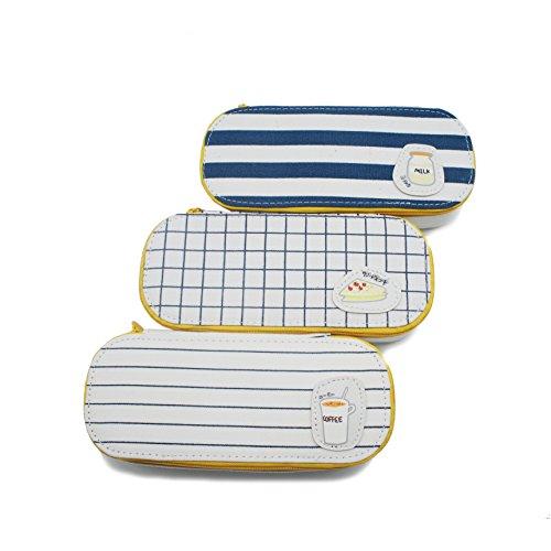 Artone Toile Grande Capacité Trousses Papeterie Pounch Cosmétique Sac Blanc