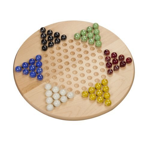 Chinese Checkers - Solid Maple Wood with Glass Marbles - 11 inch (Made in USA) by WE Games