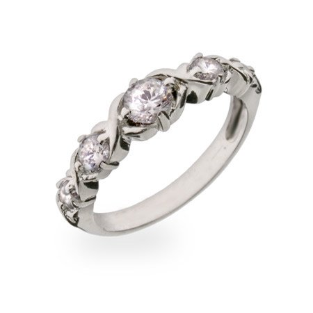 Sparkling Diamond Cut CZ Sterling Silver Journey Ring Size 8 (Sizes 6 7 8 Available)