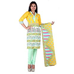 RangoliSF Woman's Cotton Unstitched Dress Material (RSFT1014 Yellow)