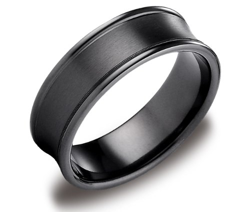 Men's Black Titanium 7.5 Round Edge Comfort Fit Wedding Band Ring with Concave Satin Center, Size 9.5