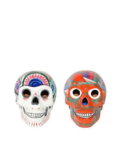 Uptown Down Set of 2 Hand-Painted Large Sugar Skulls, White/Orange